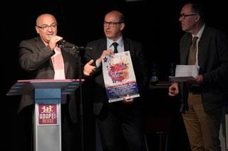 De gauche à droite: Laskri Chelihi, Franck Briey (directeur général de l'APADEI) et  Frédéric Coste (Président de l'ADAPEI)