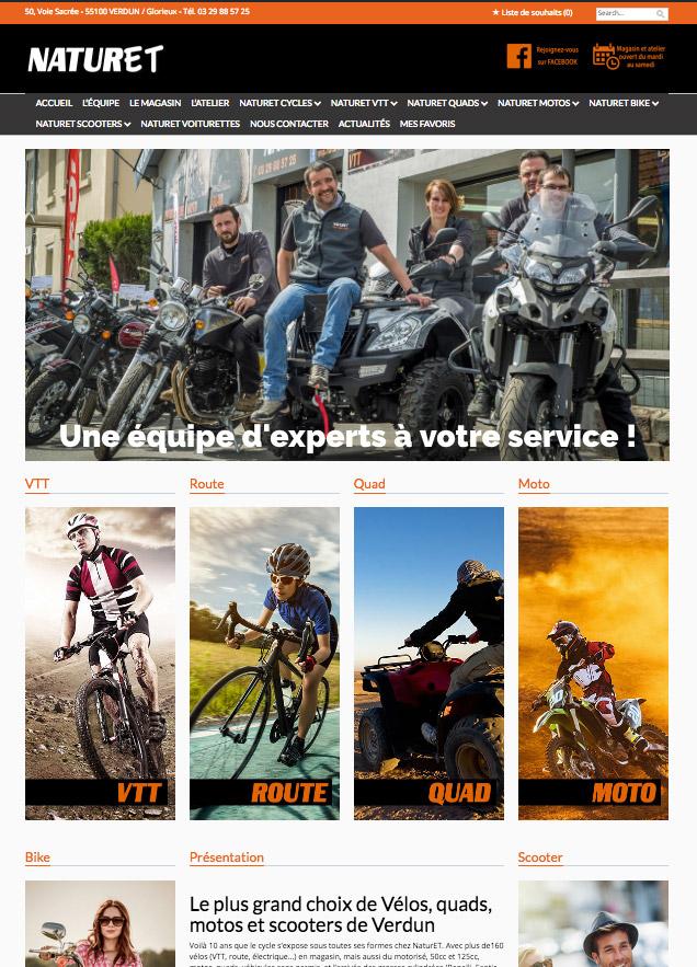 création site internet Naturet vendeur de vélos, quads et motos de Verdun