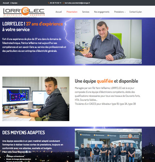 Page présentation du site internet de Lorrelec avec photos réalisées par nos soins