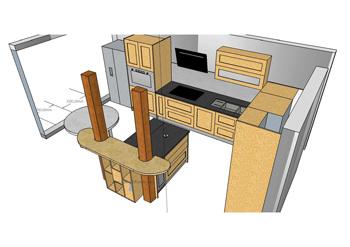 Plan de cuisine en 3D réalisé par Fab'Réal
