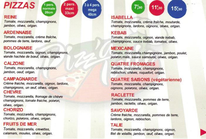 Carte pizzeria Pizz'a Talie Verdun