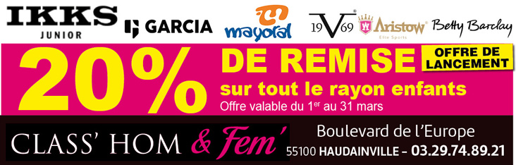 Promotion Class Hom' & Fem' vêtements enfants Verdun