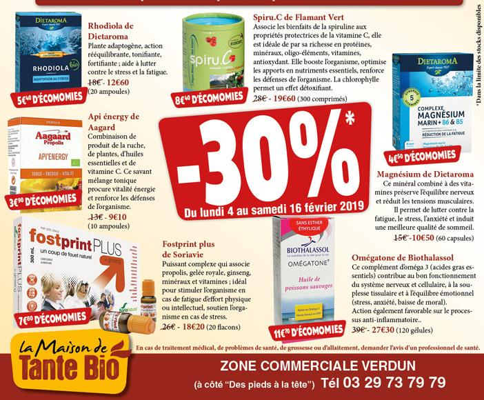 Promotion compléments alimentaires à la Maison de Tante Bio à Verdun en Meuse